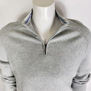 Mens DKNY ACTIVE Ribbed Gray Zip Sweater XXL